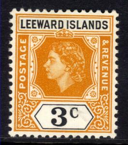 Leeward Islands 1954 QE2 3ct Yellow Orange & Black MM SG 129 ( L233 )