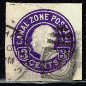 US STAMP Possessions CANAL ZONE 3C PURPLE CUT SQ STAMP USED