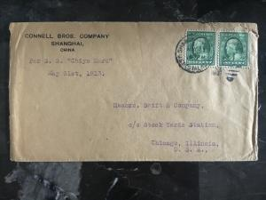 1913 US Post Office Shanghai China to Chicago USA Connell Brothers