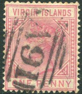 BRITISH VIRGIN ISLANDS-1883 1d Pale Rose Sg 29 GOOD USED V33652