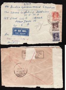 D1-India cover-#8692-1949 re-used government service to USA-