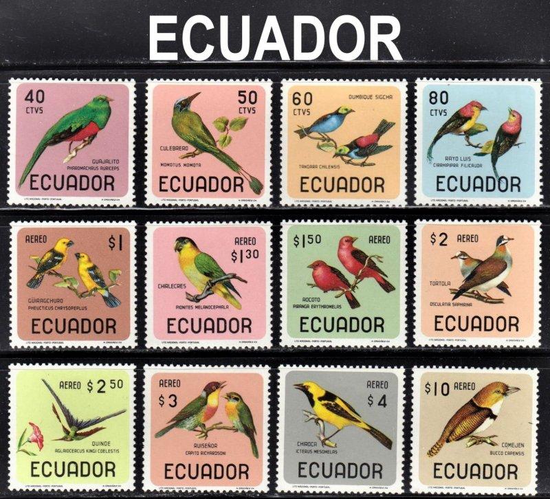 Ecuador Scott 751-51C, C441-48 complete set F to VF mint OG H, HR or HHR.
