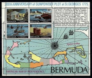 BERMUDA - 1975 - GUNPOWDER PLOT - SHIP - WAR - BICENTENNIAL - MINT MNH SHEET!