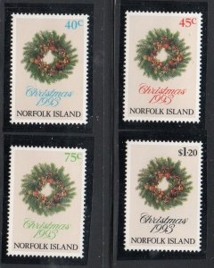 Norfolk Island Sc  546-49 1993 Christmas stamp set mint NH