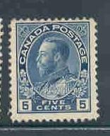 Canada 111 1914 5 c dk bl G V Admiral isssue stamp mint NH