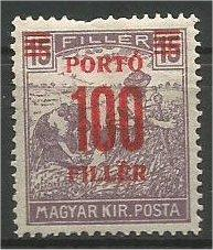 HUNGARY, 1921, MH 100f on 15f  Red Surcharge Scott J76