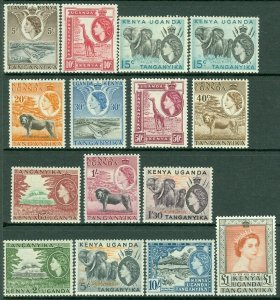 EDW1949SELL : KENYA U & T 1954-59 Sc #103-17 Cplt set. Very Fine, MOG. Cat $136.