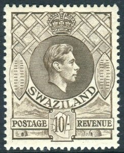 SWAZILAND-1938-54 10/- Sepia Perf 13½x13.  A lightly mounted mint example Sg 38
