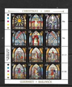 GUERNSEY, 525, MNH, SHEET OF 12, CHRISTMAS
