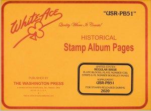 WHITE ACE 2020 US Regular Issue Plate Blocks Album Supplement USR-PB51