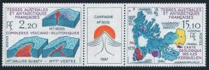 FSAT 140-141a/label,MNH.Michel 242-243 zf. Mt.Ross Campaigh.Volcanic rock,1988.