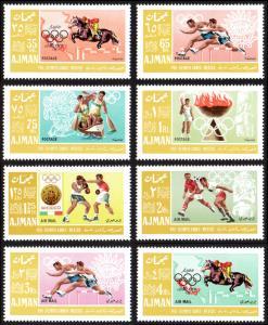 Ajman Mi #189A-196A set/8 mnh - 1967 - 1968 Summer Olympics Mexico