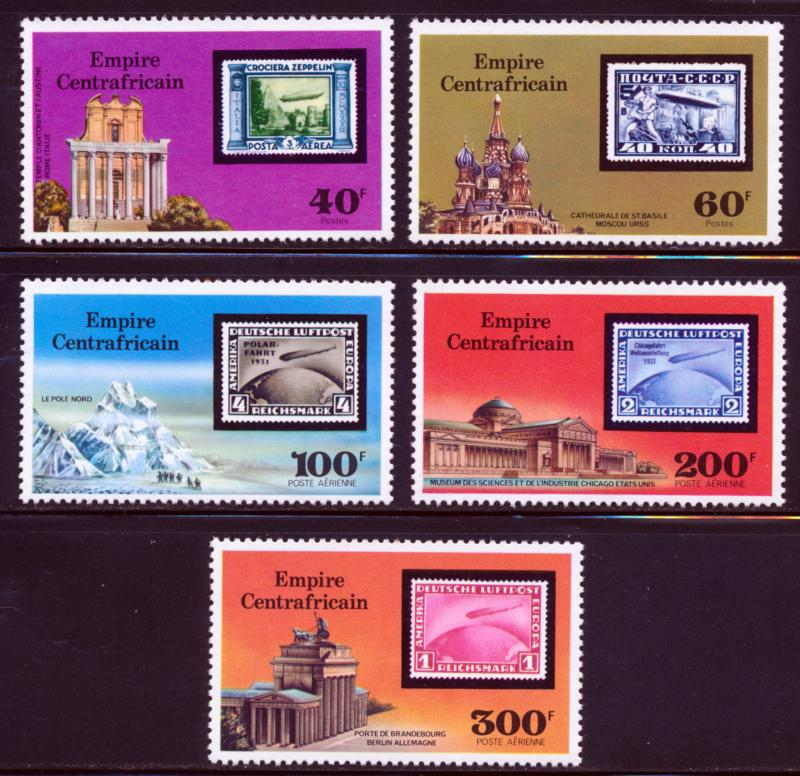 CENTRAL AFRICA 75TH ANNIV OF THE ZEPPELIN STAMP ON STAMP SCOTT 295-96,C184-86