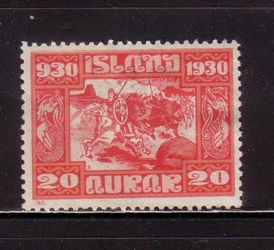 Iceland Sc 157 1930 20 aur Dash for Thing stamp mint