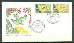 GABON 1961 FLOWERS #156x2 on NICE FDC