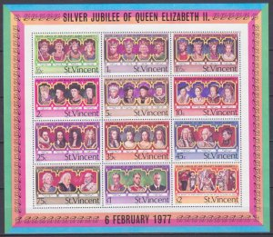 1977 St Vincent 459-470/B6 25th Anniversary Silver Anniversary of Queen Elizabet