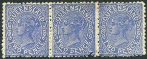 QUEENSLAND-1882-91 2d Blue Strip of 3.  A lightly mounted mint strip of 3 Sg 168
