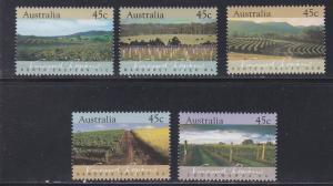 Australia # 1262-1266, Vineyard Regions, NH, 1/2 Cat.