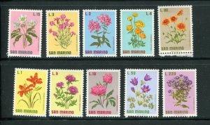San Marino MNH 758-67 Flowers Flora
