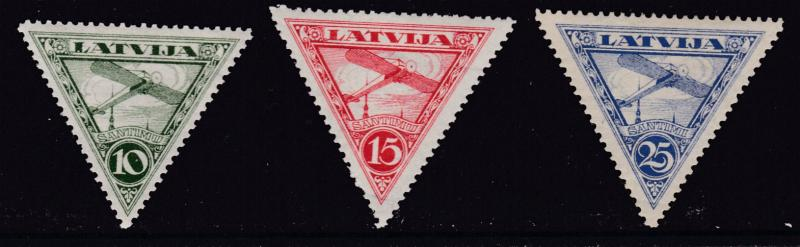Latvia 1928,1931 Two Sets of Triangle Airmails Complete  F/VF/Mint(*) Condition