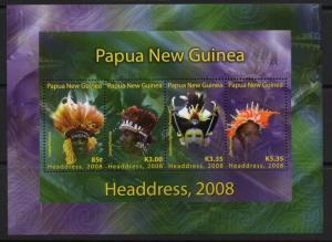 PAPUA NEW GUINEA SGMS1259 2008 TRADITIONAL HEADRESES MNH