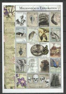G0872 MONGOLIA MILLENNIUM OF EXPLORATION CHARLES DARWIN 1809-1882 SH MNH