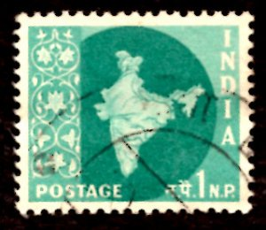 India 1np Map of India 1960 SG.399, Sc.302 Used (#03)