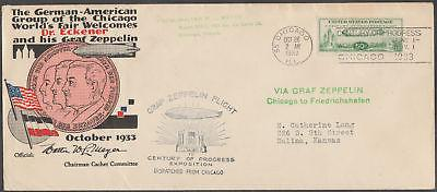 #C18 ON HUGO ECKENER FLIGHT COVER CHICAGO TO GERMANY 10/26/1933 BL9965