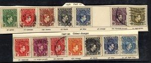Nigeria 1938 – 51 KGV1 14 x Variety Used & MM as per scan ( B446 )