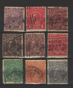 COLLECTION LOT # 5068 AUSTRALIA 9 STAMPS WMK 9 1918+ CV+$24