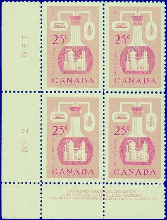 Canada - 1956 25c Chemical Industry Blocks mint #363