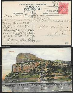 1907 Gibraltar Paquebot Marking on Gibraltar ppc with British stamp