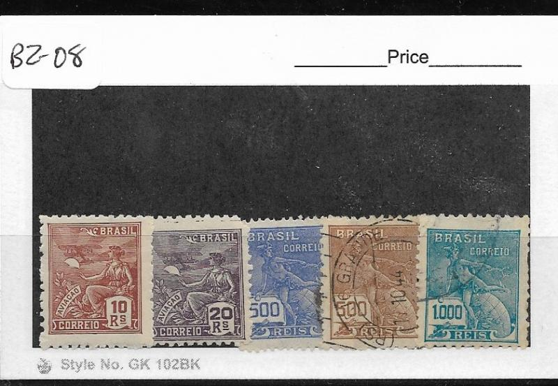 BRAZIL  BZ-08 SET OF 5 USED STAMPS