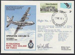 NEW ZEALAND ROSS DEPENDENCY 1980 signed flight cover ex Scott Base..........H736