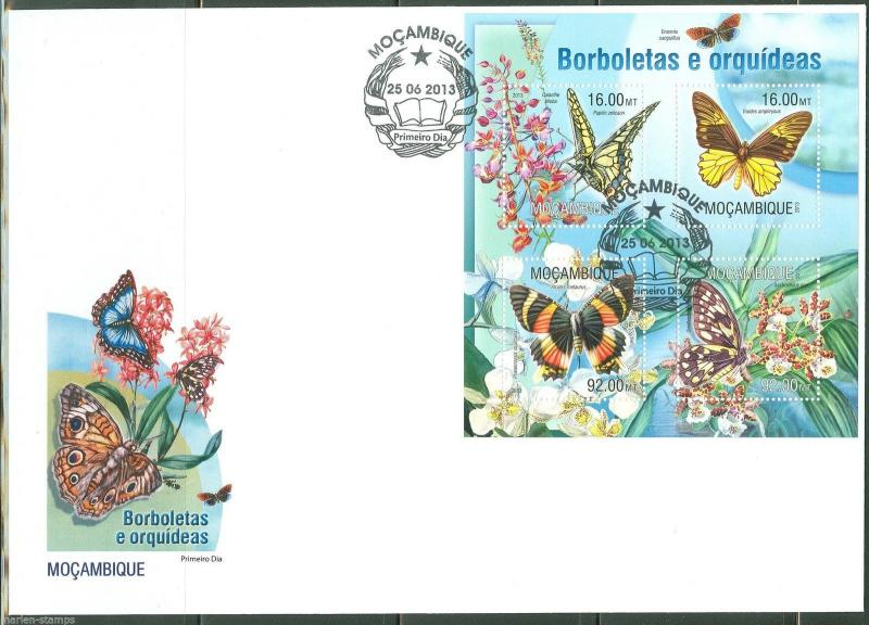 MOZAMBIQUE  2013  BUTTERFLIES & ORCHIDS  SHEET FIRST DAY COVER