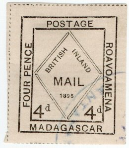 (I.B) Madagascar Postal : British Inland Mail 4d (Roavoamena)
