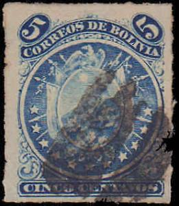 1887 Bolivia #26, Incomplete Set, Used