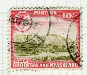 RHODESIA; & NYASALAND 1959 early QEII issue fine used 10s. value
