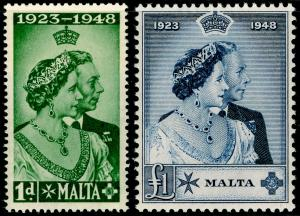 MALTA SG249-250, COMPLETE SET, NH MINT. Cat £38. RSW.