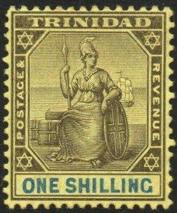 TRINIDAD-1904-09 1/- Black & Blue/Yellow Sg 141 MOUNTED MINT V48568