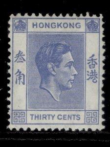 HONG KONG GVI SG152, 30c blue, LH MINT.