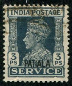 India - Patiala SC# O40 King George VI, 3ps, cancelled