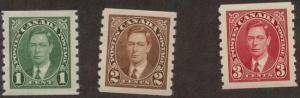 Canada - 1937 KGVI Mufti Coils VF-NH #238-240