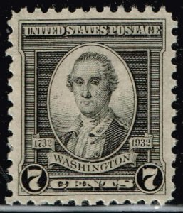 US STAMP #712 1932 7¢  Washington by John Trumbull XFS SUPERB