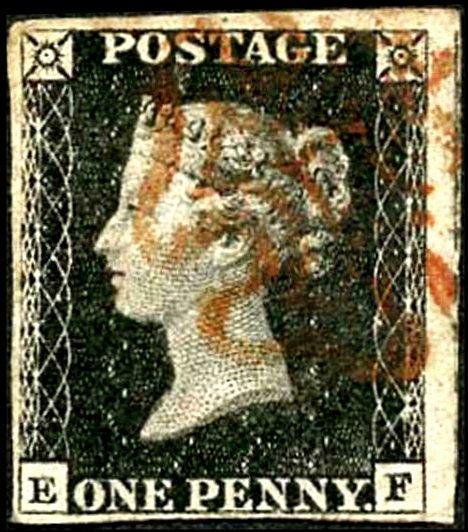 Great Britain Penny Black (EF) Plate 2 Four Margins
