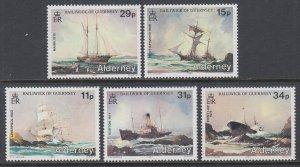 Alderney 32-36 Ships MNH VF