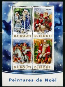 Dschibuti 2016 Weihnachten Gemälde Santa Claus Blatt Postfrisch
