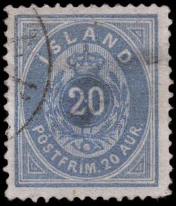 Iceland Scott 17a - Ultramarine (1882) Used  Good, CV $375.00 Y
