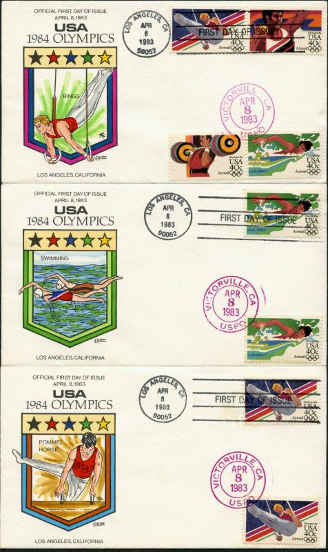 #C105-108 1984 OYMPICS (5) DIFF. COLLINS HAND PAINTED FDC CACHET BP7441