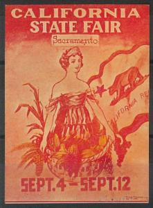55212 -  VINTAGE  POSTER STAMP Label - USA: SACRAMENTO California State Fair